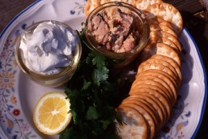 Ingredients for coriander and salmon dip