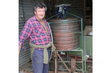 Trevor Holmes with his biodynamic BD 500 stirrer