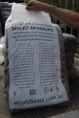 A bag of sheep manure