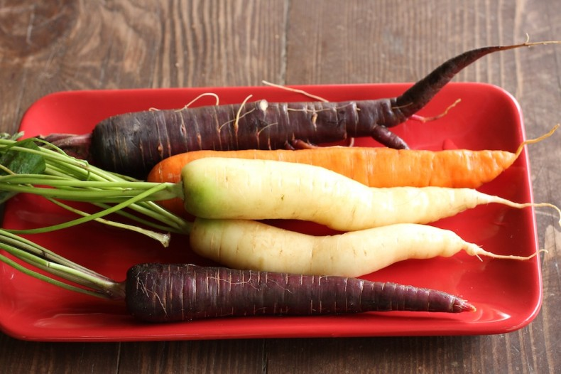 Purple Dragon carrots with white and orange carrots