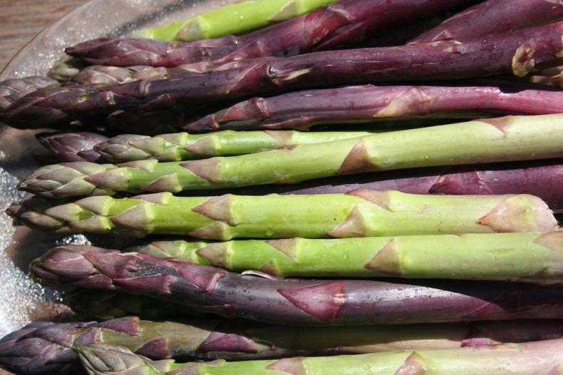 Purple and Green asparagus